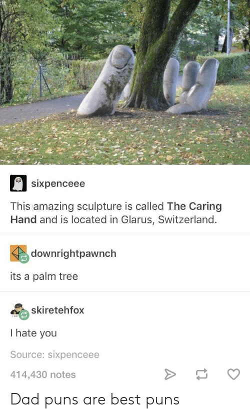 Dad, Puns, and Best: Sixpenceee  This amazing sculpture is called The Caring  Hand and is located in Glarus, Switzerland  downrightpawnch  its a palm tree  skiretehfox  I hate you  Source: sixpenceee  414,430 notes Dad puns are best puns