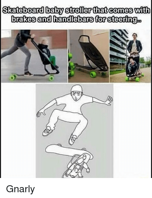 skateboard baby stroller that comes with brakes and handlebars for