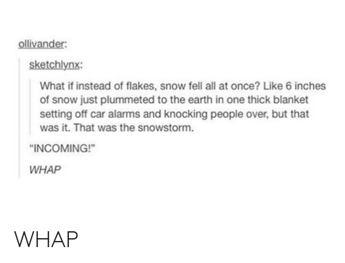 Earth, Snow, and Car: sketchlynx:  What if instead of flakes, snow fell all at once? Like 6 inches  of snow just plummeted to the earth in one thick blanket  setting off car alarms and knocking people over, but that  was it. That was the snowstorm.  INCOMING!  WHAP WHAP