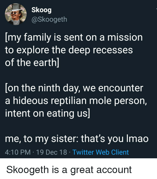 Family, Twitter, and Earth: Skoog  @Skoogeth  [my family is sent on a mission  to explore the deep recesses  of the earth]  [on the ninth day, we encounter  a hideous reptilian mole person,  intent on eating us]  me, to my sister: that's you Imao  4:10 PM-19 Dec 18 Twitter Web Client Skoogeth is a great account