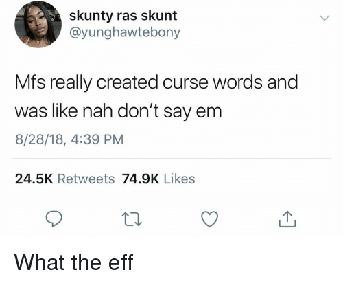Dank Memes, Eff, and Mfs: skunty ras skunt  @yunghawtebony  Mfs really created curse words and  was like nah don't say em  8/28/18, 4:39 PM  24.5K Retweets 74.9K Likes What the eff