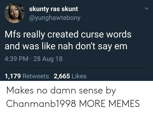 Dank, Memes, and Target: skunty ras skunt  @yunghawtebony  Mfs really created curse words  and was like nah don't say enm  4:39 PM 28 Aug 18  1,179 Retweets 2,665 Likes Makes no damn sense by Chanmanb1998 MORE MEMES