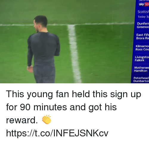 Soccer, Today, and Scottish: sky sp  Scottish  Today 3p  Dunfern  GreenoC  East Fife  Brora Ra  Kilmarno  Ross Cou  Livingsto  Falkirk  Motherwe  Hamilton  Peterhead  Dumbartor This young fan held this sign up for 90 minutes and got his reward. 👏    https://t.co/INFEJSNKcv