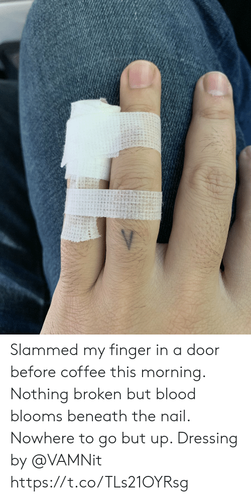 Memes, Coffee, and 🤖: Slammed my finger in a door before coffee this morning.  Nothing broken but blood blooms beneath the nail.  Nowhere to go but up.  Dressing by @VAMNit https://t.co/TLs21OYRsg
