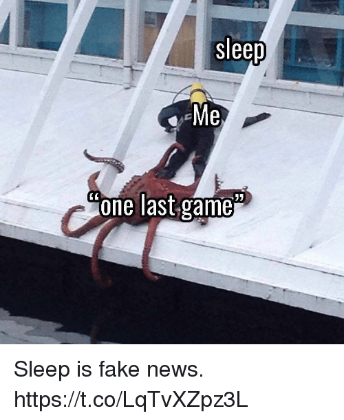 Fake, News, and Video Games: sleep  one last game Sleep is fake news. https://t.co/LqTvXZpz3L
