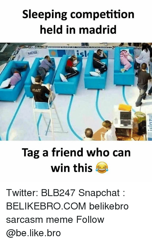 Be Like, Meme, and Memes: Sleeping competition  held in madrid  sle  staff  Tag a friend who can  win this Twitter: BLB247 Snapchat : BELIKEBRO.COM belikebro sarcasm meme Follow @be.like.bro
