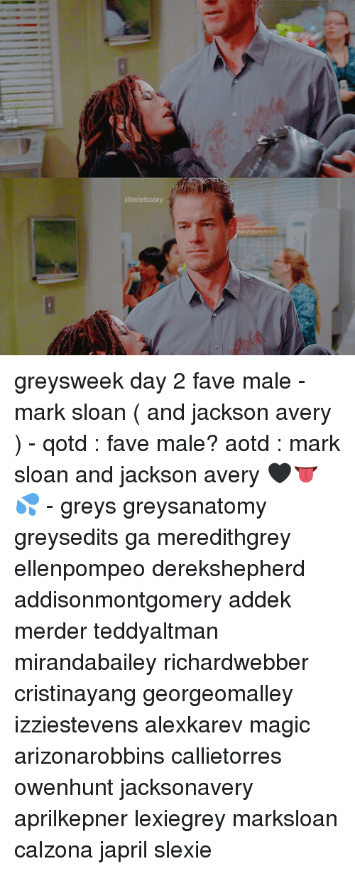 Slexieissexy Greysweek Day 2 Fave Male - Mark Sloan and Jackson ...