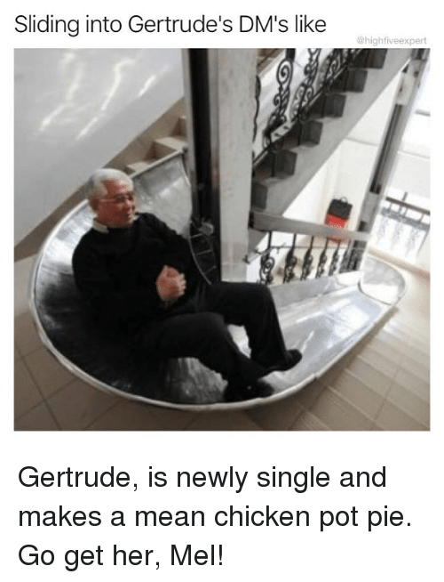 Memes, Chicken, and Mean: Sliding into Gertrude's DM's like  @highfiveexpert Gertrude, is newly single and makes a mean chicken pot pie. Go get her, Mel!
