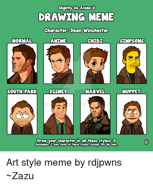 slightly de animera drawing meme charactera dean winchester normal anime 8749583 ✅ 25 best memes about draw your character draw your character