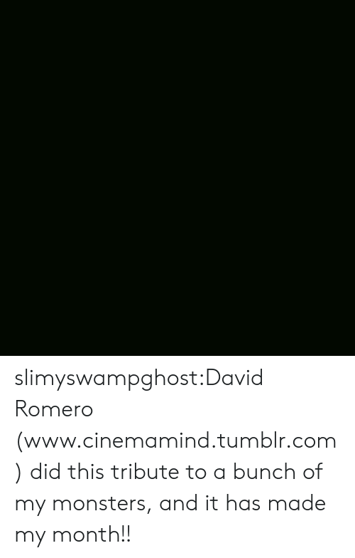 Tumblr, Blog, and Http: slimyswampghost:David Romero (www.cinemamind.tumblr.com) did this tribute to a bunch of my monsters, and it has made my month!!