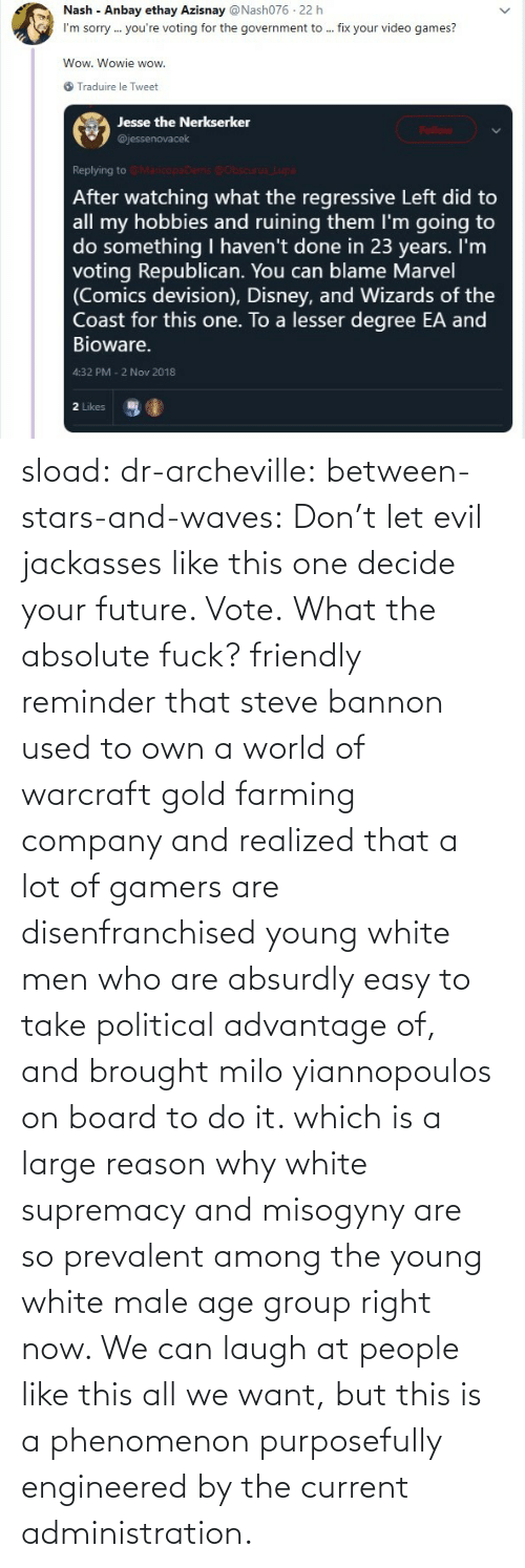 Future, Tumblr, and Waves: sload: dr-archeville:  between-stars-and-waves: Don't let evil jackasses like this one decide your future. Vote.  What the absolute fuck?   friendly reminder that steve bannon used to own a world of warcraft gold farming company and realized that a lot of gamers are disenfranchised young white men who are absurdly easy to take political advantage of, and brought milo yiannopoulos on board to do it. which is a large reason why white supremacy and misogyny are so prevalent among the young white male age group right now. We can laugh at people like this all we want, but this is a phenomenon purposefully engineered by the current administration.