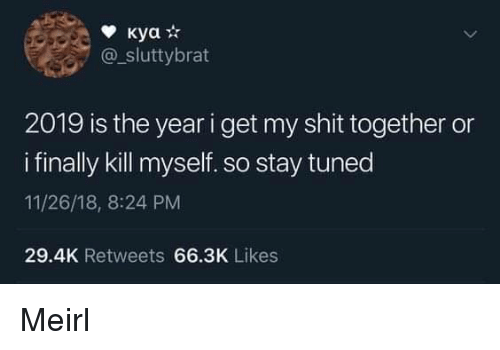 Shit, MeIRL, and Stay: @_sluttybrat  2019 is the year i get my shit together or  i finally kill myself. so stay tuned  11/26/18, 8:24 PM  29.4K Retweets 66.3K Likes Meirl