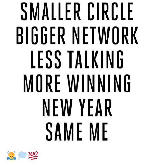 SMALLER CIRCLE BIGGER NETWORK LESS TALKING MORE WINNING NEW YEAR ...