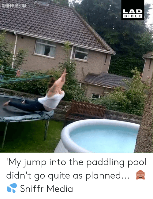 Dank, Pool, and Quite: SMFER MEDLA  LAD  BIB LE 'My jump into the paddling pool didn't go quite as planned...' 🙈💦  Sniffr Media