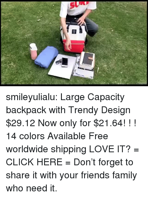 Click, Family, and Fashion: smileyulialu:  Large Capacity backpackwith Trendy Design $29.12 Now only for $21.64! ! ! 14 colors Available Free worldwide shipping LOVE IT? = CLICK HERE = Don't forget to share it with your friends  family who need it.