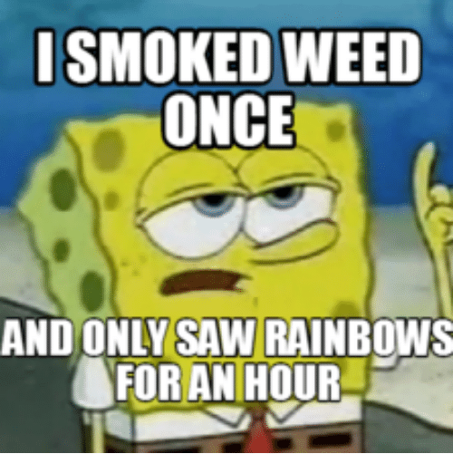 smoked weed once and only saw rainbows for an hour 18068572 smoked weed once and only saw rainbows for an hour saw meme on me me