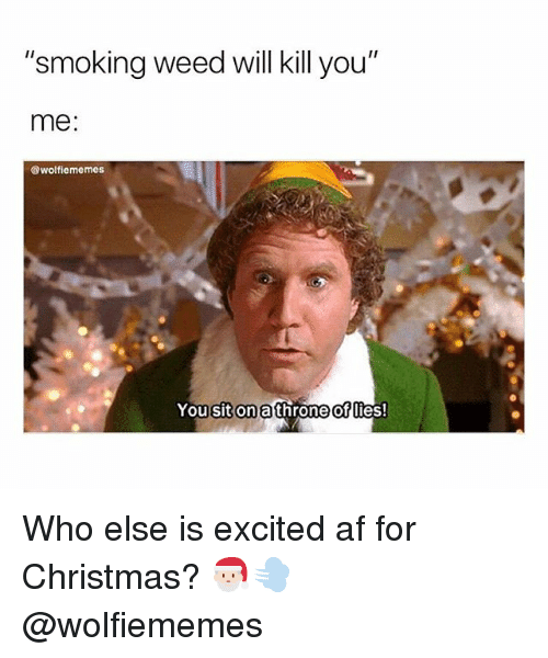 """Af, Christmas, and Smoking: """"smoking weed will kill you""""  me:  @wolfiememes  You sit onathrone ofllies!  of Who else is excited af for Christmas? 🎅🏻💨 @wolfiememes"""