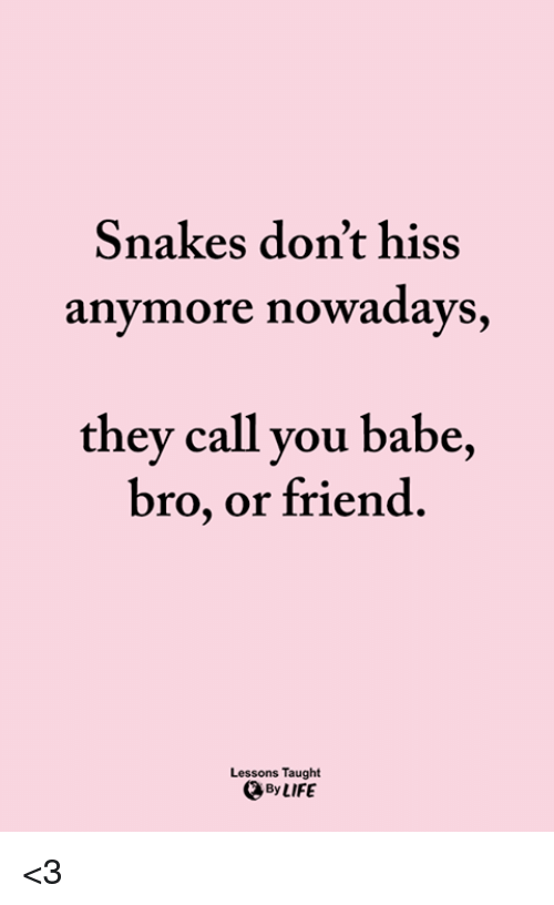 Snakes Don't Hiss Anymore Nowadays They Call You Babe Bro or Friend