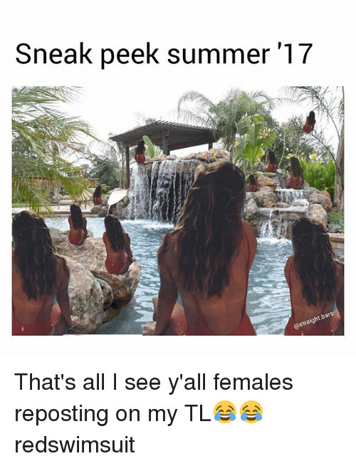 Funny, Summer, and Bats: Sneak peek summer '17  bats  straight That's all I see y'all females reposting on my TL😂😂 redswimsuit
