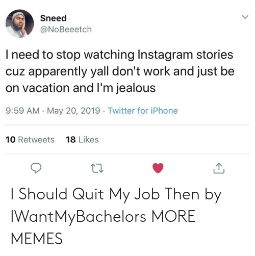 Apparently, Dank, and Instagram: Sneed  @NoBeeetch  l need to stop watching Instagram stories  cuz apparently yall don't work and just be  on vacation and l'm jealous  9:59 AM -May 20, 2019 Twitter for iPhone  10 Retweets  18 Likes  10 I Should Quit My Job Then by IWantMyBachelors MORE MEMES