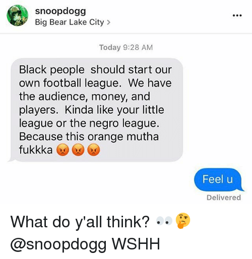 Football, Memes, and Money: snoopdogg  Big Bear Lake City>  Today 9:28 AM  Black people should start our  own football league. We have  the audience, money, and  players. Kinda like your little  league or the negro league.  Because this orange mutha  fukkkaツンツ  Feel u  Delivered What do y'all think? 👀🤔 @snoopdogg WSHH