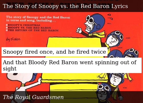 Snoopys Christmas Lyrics.Snoopy Fired Once And He Fired Twice And That Bloody Red