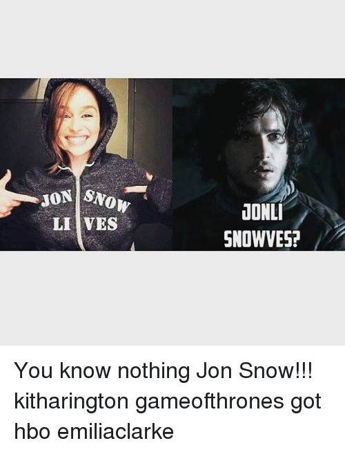 Hbo, Memes, and Jon Snow: SNOW  LI VES  JONLI  SNOWVES! You know nothing Jon Snow!!! kitharington gameofthrones got hbo emiliaclarke