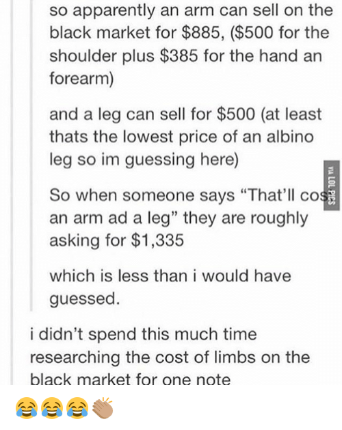 So Apparently an Arm Can Sell on the Black Market for $885