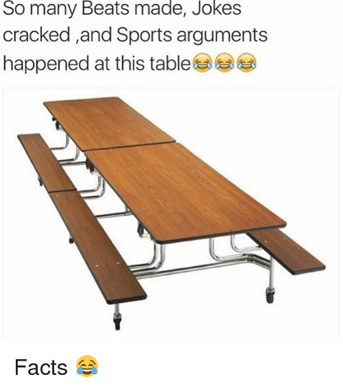 Facts, Memes, and Sports: So  Beats  made,  Jokes  many  cracked ,and Sports arguments  happened at this tables Facts 😂