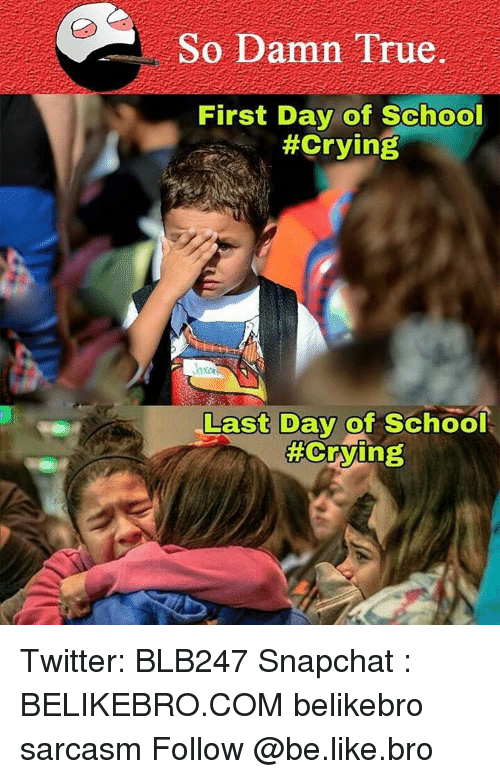 Memes, 🤖, and Last Days: So Damn True.  First Day of School  #Crying  Last Day of School  Twitter: BLB247 Snapchat : BELIKEBRO.COM belikebro sarcasm Follow @be.like.bro