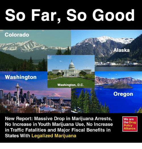 Drugs, Memes, and Traffic: So Far, So Good  Colorado  Alaska  Washington  Washington, D.C.  Oregon  New Report: Massive Drop in Marijuana Arrests,  We are  the Drug  No Increase in Youth Marijuana Use, No Increase  Policy  Alliance.  in Traffic Fatalities and Major Fiscal Benefits in  States With  Legalized Marijuana