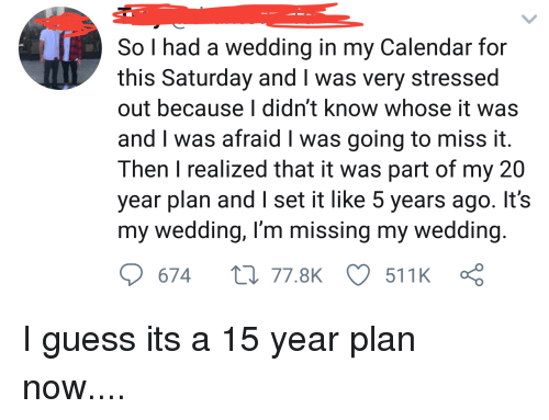 So I Had a Wedding in My Calendar for This Saturday and I