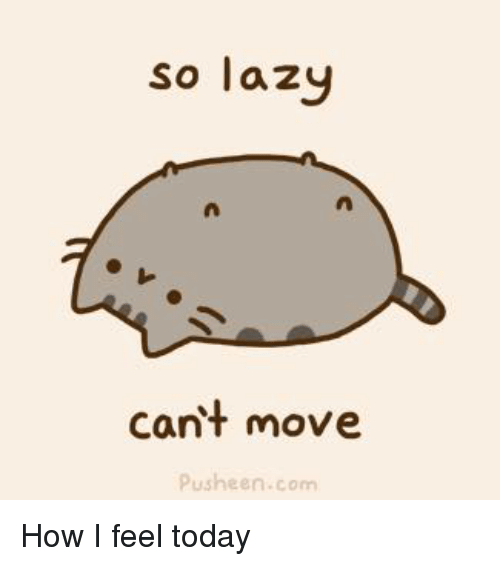 Lazy, Memes, and Today: so lazy  cant move  Pusheen.com How I feel today