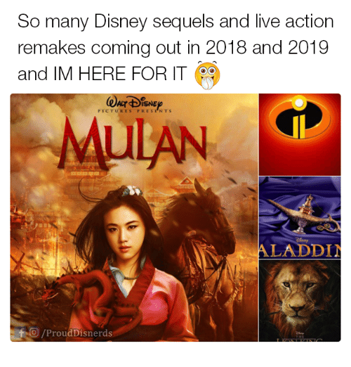 So Many Disney Sequels and Live Action Remakes Coming Out in