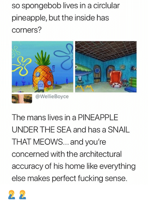 Fucking, SpongeBob, and Home: so spongebob lives in a circlular  pineapple, but the inside has  corners?  @WellieBoyce  The mans lives in a PINEAPPLE  UNDER THE SEA and has a SNAIL  THAT MEOoWS... and you're  concerned with the architectural  accuracy of his home like everything  else makes perfect fucking sense 🤦♂️🤦♂️