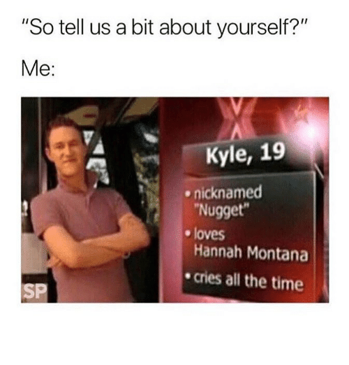 "Hannah Montana, Montana, and Time: ""So tell us a bit about yourself?""  Me:  Kyle, 19  Nugget  Hannah Montana  cries all the time  ^  nicknamed  e loves  SP"