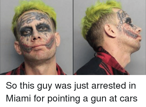 So This Guy Was Just Arrested In Miami For Pointing A Gun At Cars