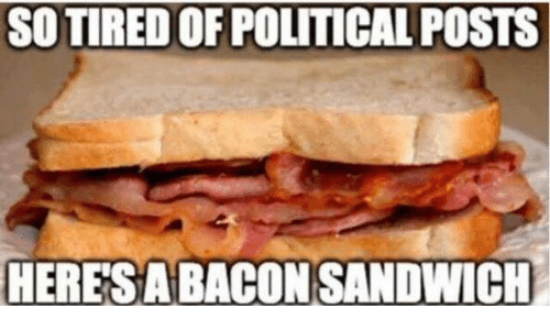 so tired of political posts heres a bacon sandwich 5718653 ✅ 25 best memes about tired of political posts tired of,Political Posts Meme