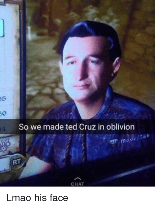 So We Made Ted Cruz in Oblivion Move CHAT Lmao His Face
