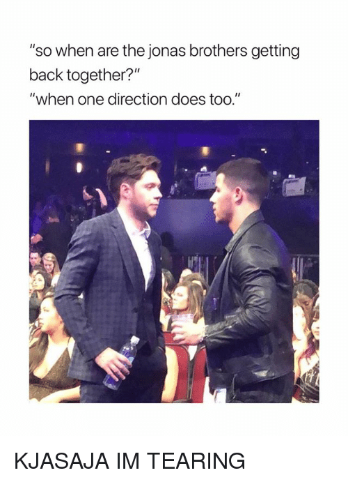 """One Direction, Jonas Brothers, and Girl Memes: """"so when are the jonas brothers getting  back together?""""  """"when one direction does too."""" KJASAJA IM TEARING"""