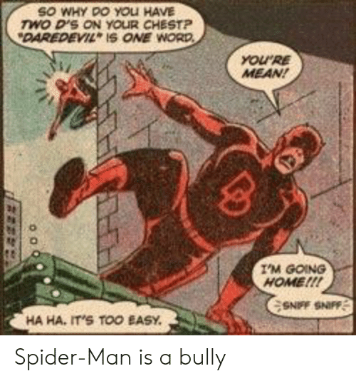 Spider, SpiderMan, and Daredevil: SO WHY DO YOLI HAVE  wo D'S ON YOUR CHESTP  DAREDEVIL IS ONE WORD  YOURE  MEAN!  I'M GOING  HOME!!!  SNFF SNIFF  HA HA, IT'S TOO EASY Spider-Man is a bully