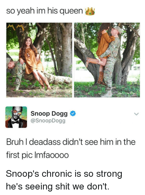 Blackpeopletwitter, Bruh, and Funny: so yeah im his queen  Snoop Dogg  @SnoopDogg  Bruh I deadass didn't see him in the  first pic Imfaoooo Snoop's chronic is so strong he's seeing shit we don't.