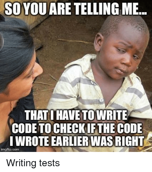 Programmer Humor, Com, and Code: SO  YOU  ARE  TELLING  ME.  THAT I HAVE TOWRITE  CODE TO CHECK IFTHE CODE  LWROTE EARLIERWAS RIGHT  imgflip.com