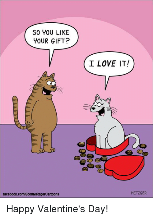 Facebook, Love, and Memes: SO YOU LIKE  YOUR GIFT?  I LOVE IT  facebook.com/ScottMetzgerCartoons  METZGER Happy Valentine's Day!