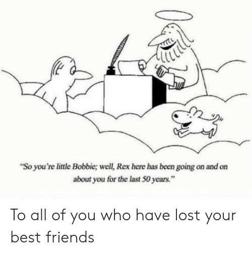 """Friends, Lost, and Best: """"So you're little Bobbie; well, Rex here has been going on and on  about you for the last 50 years."""" To all of you who have lost your best friends"""
