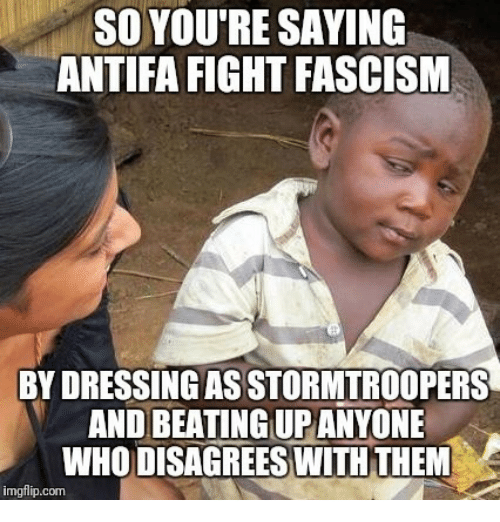Fascism, Fight, and Com: SO YOU'RE SAYING  ANTIFA FIGHT FASCISM  BY DRESSING AS STORMTROOPERS  AND BEATING UPANYONE  WHO DISAGREES WITHTHEM  imgflip.com