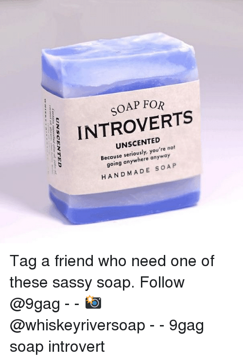 9gag, Introvert, and Memes: SOAP FOR  INTROVERTS  UNSCENTED  Because seriously, you're not  going anywhere anyway  HANDMADE SOA P Tag a friend who need one of these sassy soap. Follow @9gag - - 📸@whiskeyriversoap - - 9gag soap introvert