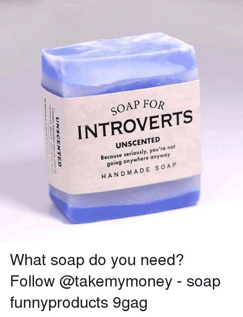 9gag, Memes, and 🤖: SOAP FOR  INTROVERTS  UNSCENTED  Because seriously, you're not  going anywhere anyway  HANDMADE S OA P What soap do you need? Follow @takemymoney - soap funnyproducts 9gag