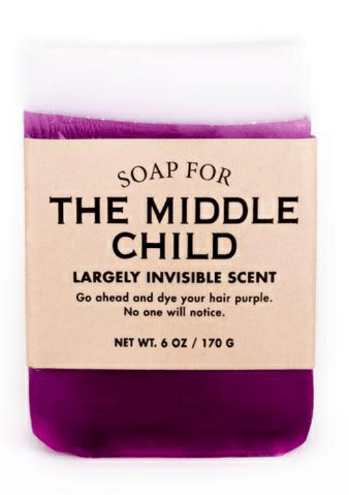 Hair, Purple, and The Middle: SOAP FOR  THE MIDDLE  CHILD  LARGELY INVISIBLE SCENT  Go ahead and dye your hair purple.  No one will notice.  NET WT. 6 oz / 170 G