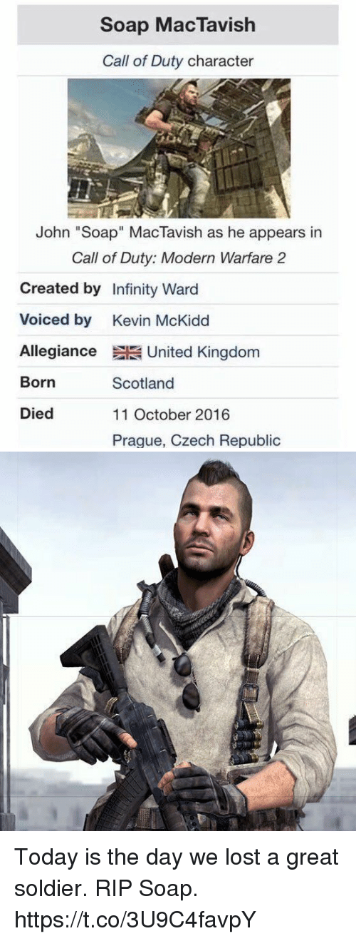 "Call of Duty Modern Warfare 2, Funny, and Lost: Soap MacTavish  Call of Duty character  John ""Soap"" MacTavish as he appears in  Call of Duty: Modern Warfare 2  Created by Infinity Ward  Voiced by Kevin McKidd  Allegiance United Kingdom  Born  Died  Scotland  11 October 2016  Praque, Czech Republic Today is the day we lost a great soldier. RIP Soap. https://t.co/3U9C4favpY"